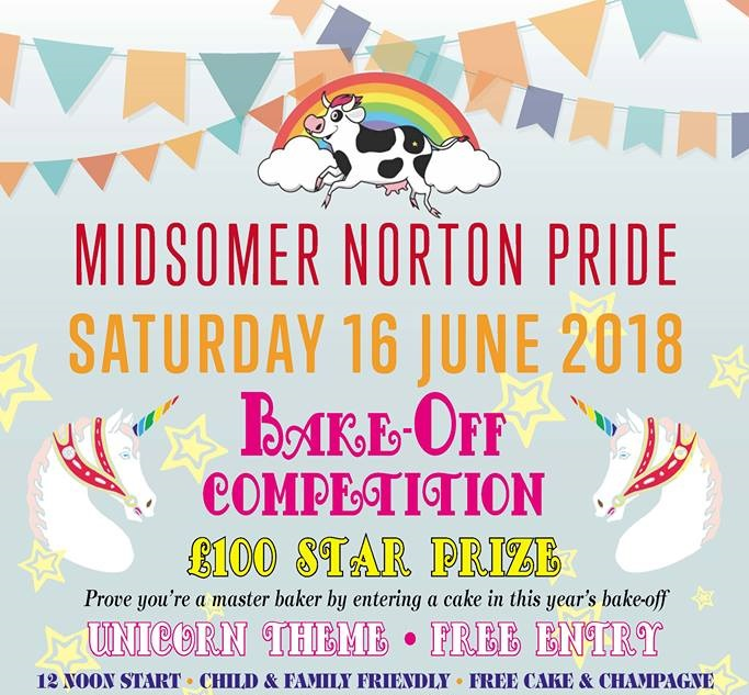 Poster for pride bakeoff. Shows stars and unicorns under coloured bunting with text giving date (16th June) and time (mid day) of the bake off
